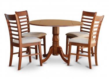 "5PC Dublin 42"" round table w/ drop leaf + 4 Milan cushioned chairs in saddle brown. SKU: DM5-SBR-C"