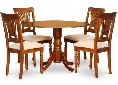 "5-PC Dublin 42"" round table, drop leaf +4 Plainville cushion chairs, saddle brown. SKU: DPL5-SBR-C"