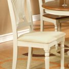 Set of 2 Plainville dinette kitchen dining chairs w/ microfiber upholstered seat in Buttermilk