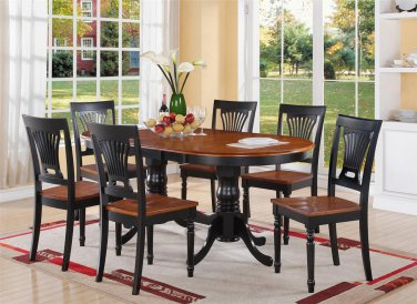 """PLAINVILLE OVAL DINING TABLE 42X78 with 18"""" LEAF BLACK & CHERRY BROWN WITHOUT CHAIR"""