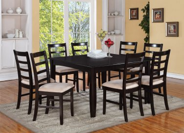 """7PC Square Dining Table 54x54x30"""" with 6 Microfiber Upholstery Chairs in Cappuccino. SKU: FL7-CAP-C"""