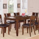 7PC LYNFIELD RECTANGULAR DINETTE DINING SET TABLE w/6 LEATHER CHAIRS IN ESPRESSO, SKU: LY7-ESP-LC