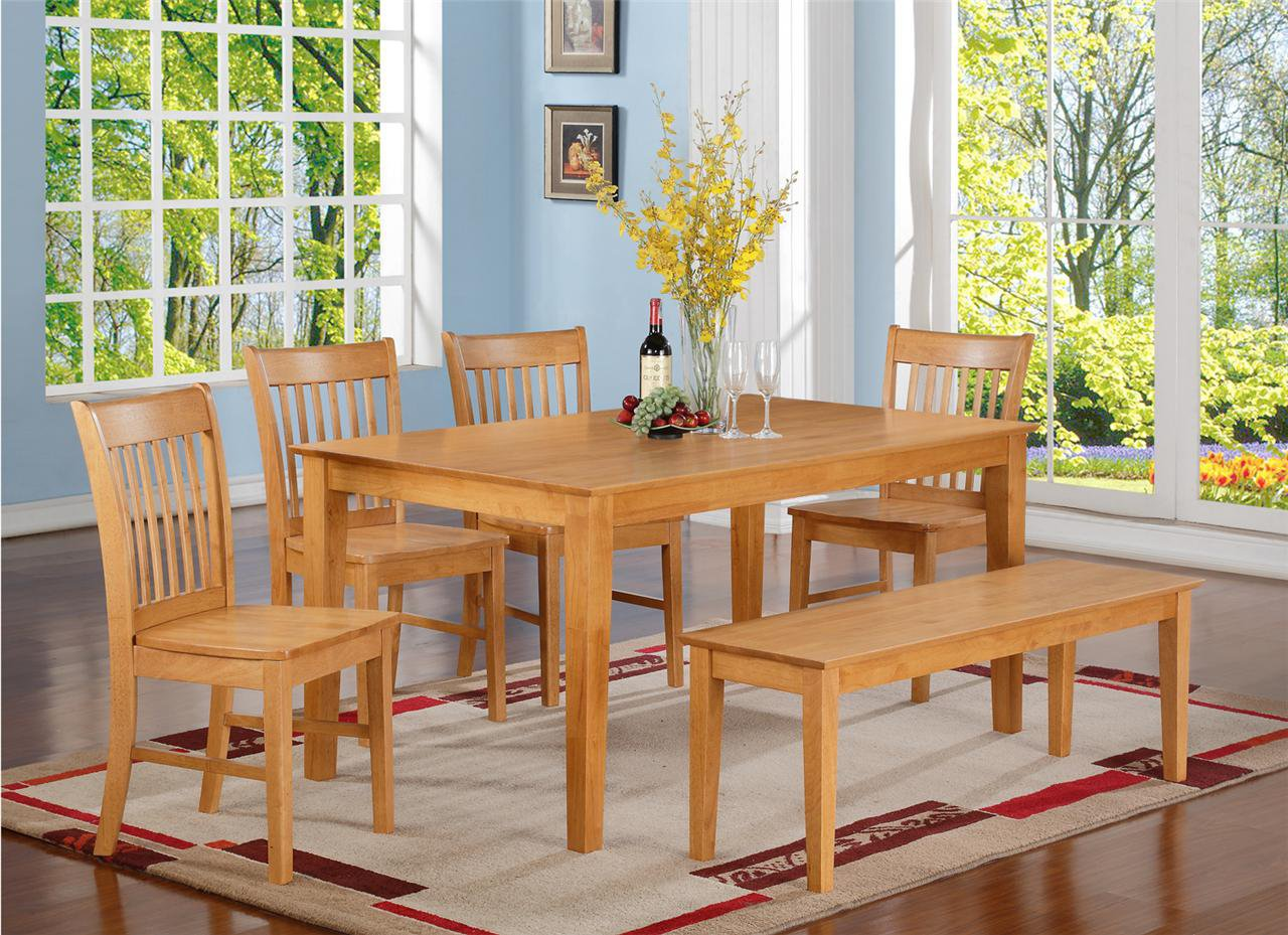 5PC RECTANGULAR DINETTE DINING SET TABLE & 4 WOOD SEAT ...