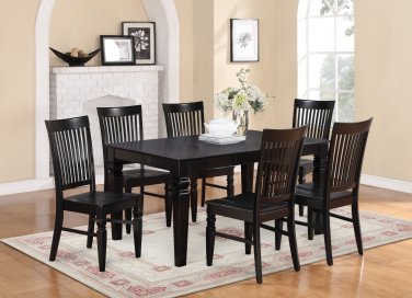 5-PC Set Rectangular Dinette Dining Table with 4 Wood Seat Chairs in Black Finish. SKU: WT5-BLK-W