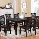 7-PC Set Rectangular Dinette Dining Table with 6 Wood Seat Chairs in Black Finish. SKU: WT5-BLK-W