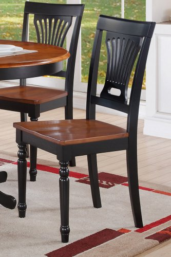 Set of 6 Plainville dining chairs with wood seat in Black and Cherry finish