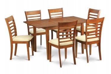 7PC Set Milan Rectangular Dinette Table 36x54 w/ 6 cushion chairs in saddle brown SKU: MILA7-SBR-C