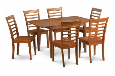 """5PC Rectangular Dinette Dining Table 36x54"""" w/ 4 wood seat chairs in saddle brown, SKU: MILA5-SBR-W"""