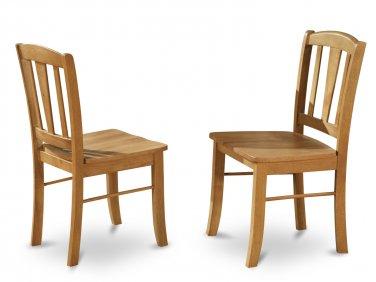 Set of 2 Dublin kitchen dining chairs with plain wood seat in Light Oak, SKU: DLC-OAK-W
