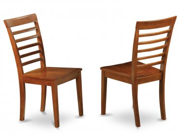 Set of 2 Milan Ladder slat back chairs with wood seat in Saddle Brown finish.