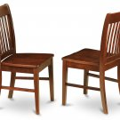 Set of 2 Norfolk kitchen dining chairs with plain wood seat in Mahogany, SKU# NFC-MAH-W