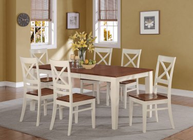 7-PC SET DINETTE DINING TABLE 40x78 WITH 6 WOOD SEAT CHAIRS BUTTERMILK & CHERRY, SKU: QUIN7-WHI-W