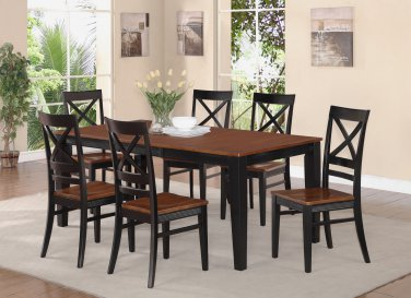 7-PC SET DINETTE DINING TABLE 40x78 WITH 6 WOOD SEAT CHAIRS BLACK & CHERRY, SKU: QUIN7-BLK-W