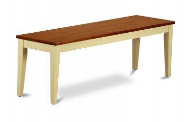 Nicoli Kitchen Dining Bench L54xW15xH18 with Wood Seat In Buttermilk & Charry, SKU: NIB-WHI-W