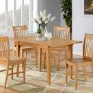 "3-PC-Norfolk 32""X54"" Rectangular table & 2 Wood Seat chairs in OAK Finish. SKU: NOFK3-OAK-W"