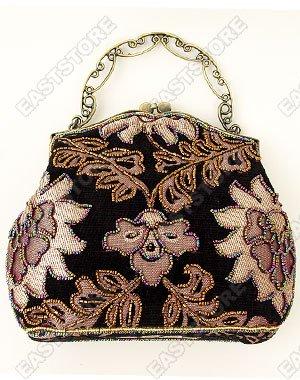 Vintage Floral Motif Beaded Purse/Hand Bag