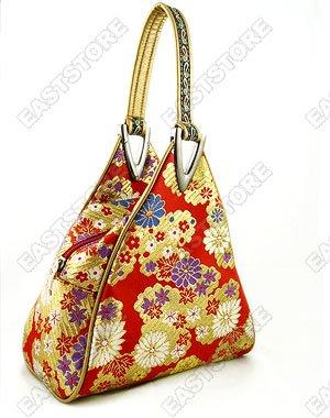 Chic Golden Floral Brocade Handbag