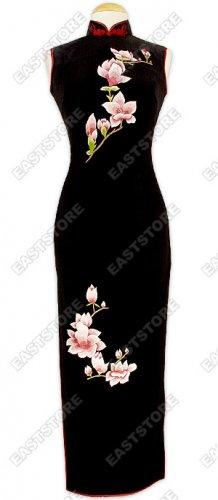 Feminine Flower Embroidery Velvet Cheongsam