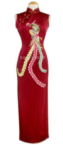 Noble Phoenix Embroidered Silk Dress