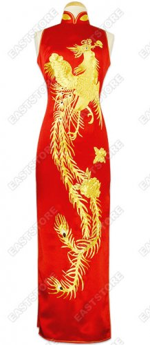 Luxurious Gold Embroidery Phoenix Silk Cheongsam