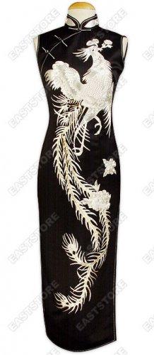 Luxurious Silver Phoenix Embroidered Silk Cheongsam