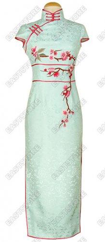Plum Blossom Embroidery Silk Cheongsam