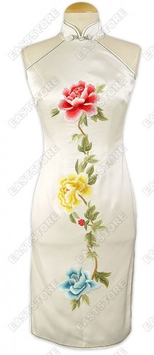 White Silk Embroidered Peony Dress