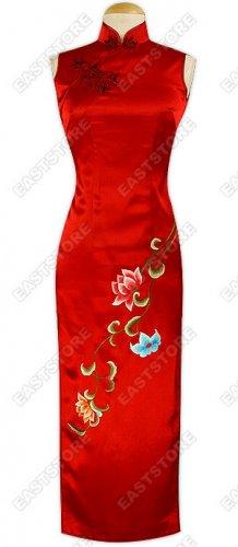 Feminine Lotus Embroidery Silk Cheongsam