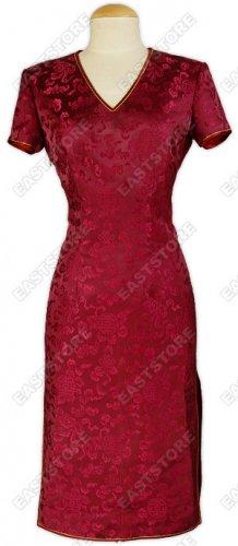 Feminity V-neck Silk Brocade Dress