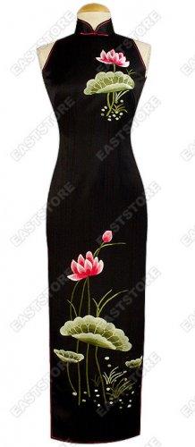 Blossomy Lotus Embroidered Silk Cheongsam