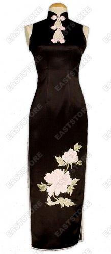 Chic Light Pink Peony Embroidery Silk Cheongsam