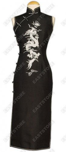 Cool Dragon Embroidered Silk Cheongsam