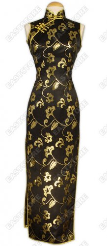 Attractive Gold Pattern Silk Cheongsam
