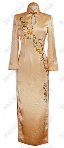 Peony Embroidered Long Sleeves Silk Cheongsam