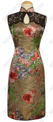 Fashionable Burn-out Silk Cheongsam