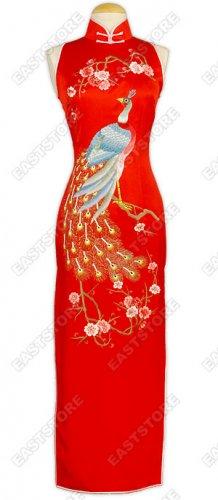 Peacock Embroidered Silk Cheongsam