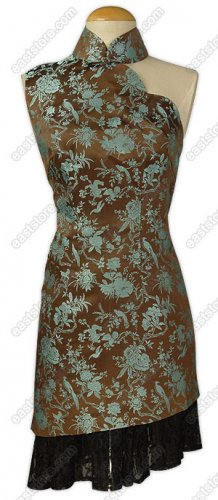 Lace Decorated Pied Magpie Brocade Dress
