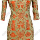 Double-Fishes Pattern Silk Brocade Cheongsam