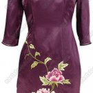 Graceful Peony Embroidered Silk Dress