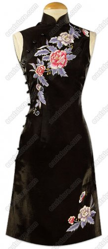 Stunning Floral Embroidered Silk Cheongsam