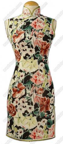 Well-off Floral Printed Silk Cheongsam