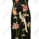 Dignified Phoenix and Peony Embroidered Silk Cheongsam