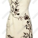Junoesque Chinese Monochrome Floral Embroidered Silk Cheongsam