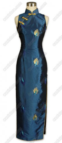 Elegant Embroidered Thai Silk Cheongsam