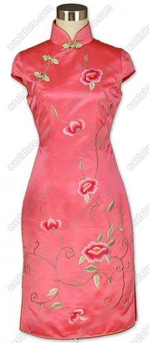 Flourishing Floral Embroidered Silk Cheongsam