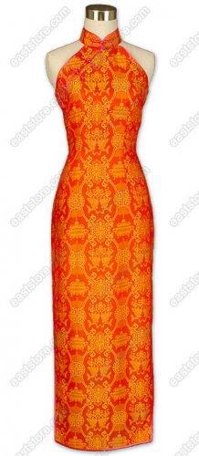 Fashionable Double-Fishes Pattern Silk Cheongsam