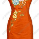 Bright Poeny Embroidered Thai Silk Cheongsam