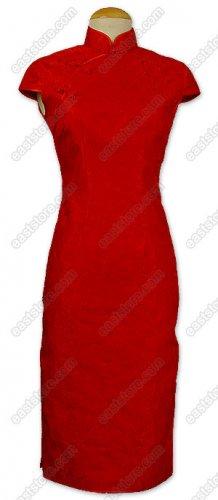Aristocratic Red Rose Brocade Dress