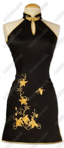Classical Gold Flower Embroidered Silk Cheongsam