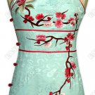 Plum Blossom Embroidered Silk Mini Cheongsam